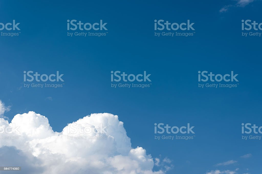 Beautiful Blue Sky With Volumetric Clouds Stock Photo
