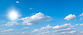 Beautiful blue sky with white clouds and sun, sunlight background panorama