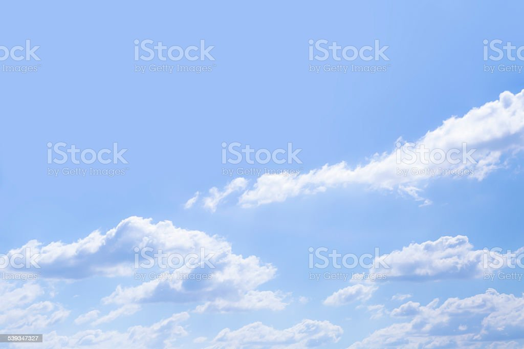 Beautiful blue sky with white clouds, background with copy space stock photo