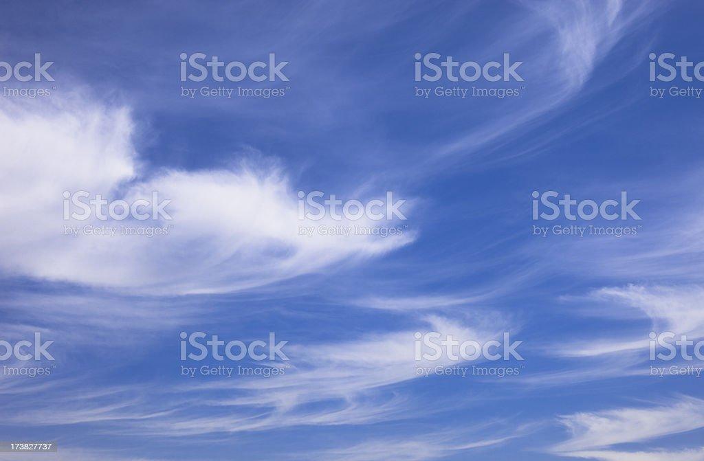 Beautiful blue sky with white wispy clouds (XXXLarge) royalty-free stock photo