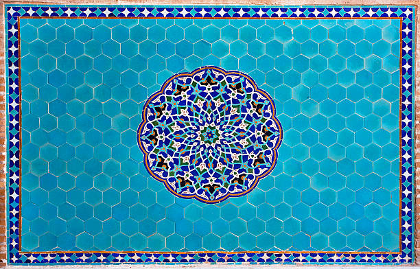 Beautiful blue tiled wall with patterns of Middle East Beautiful blue tiled wall with patterns of Middle East in the historic home of Iran persian culture stock pictures, royalty-free photos & images