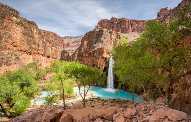 Beautiful blue turquoise waters of Havasu Falls waterfall, part of Grand Canyon, located in Arizona stock photo