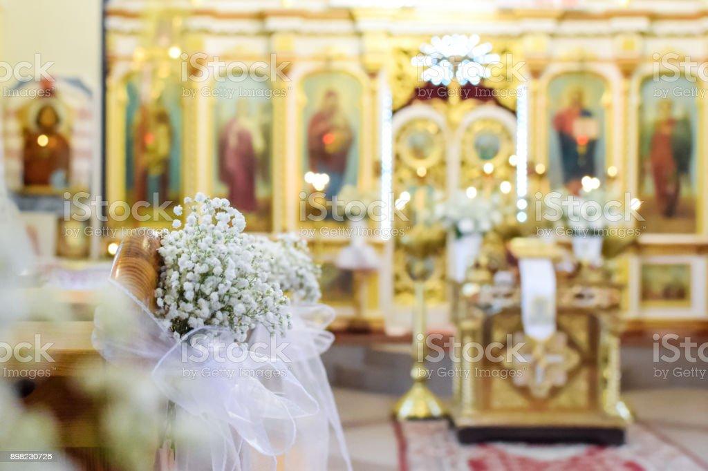 Beautiful blurred orthodox church background stock photo