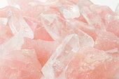Beautiful blush colored rose quartz crystals