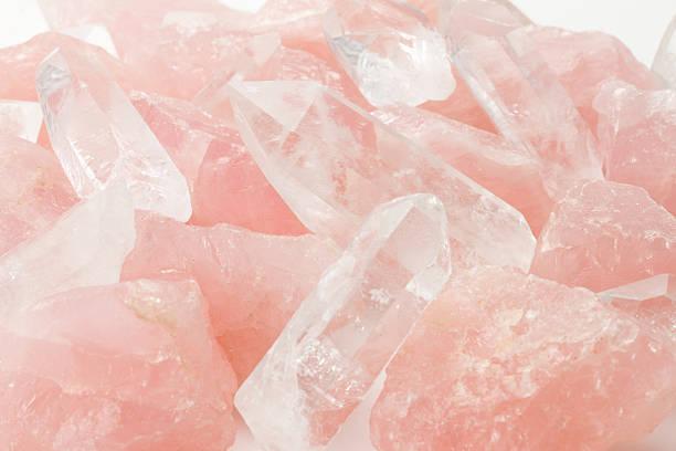beautiful blush colored rose quartz crystals - kristall bildbanksfoton och bilder