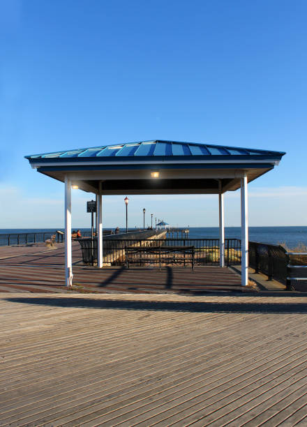 Beautiful boardwalk on Midland beach, Staten Island, NY. stock photo