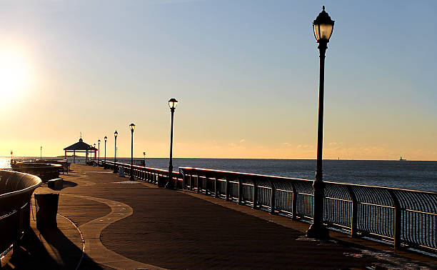 Beautiful boardwalk view at sunrise. stock photo
