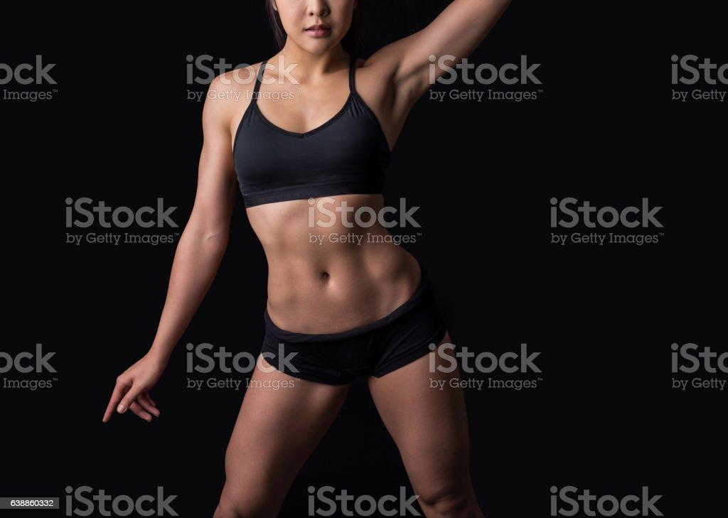 Beautiful body of fitness woman stock photo