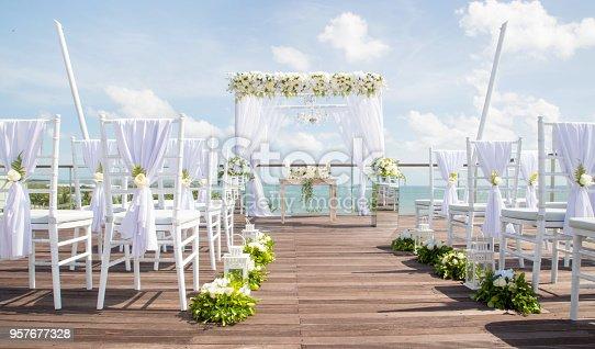 Beautiful boho wedding set up, flower decoration, tropical style