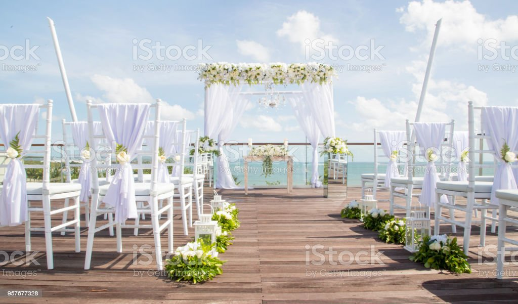 Beautiful boho wedding set up, flower decoration, tropical style stock photo