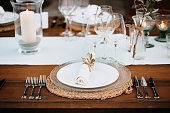 Beautiful Boho Wedding Table Decoration on a wooden table in Majorca, selective focus