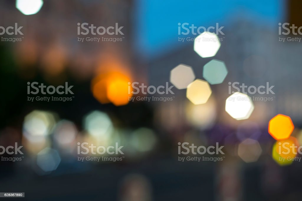 Beautiful bokeh of the nigh city lights stock photo