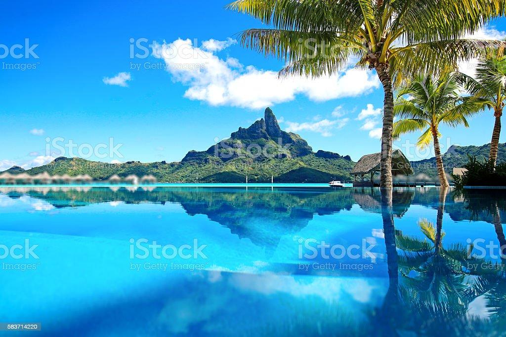 Beautiful Bora Bora Mt Otemanu stock photo