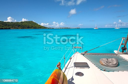 Midday on the catamaran in the lagoon at the island of Bora Bora. French Polynesia, South Pacific Ocean.