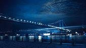 A beautiful Bosphorus Bridge and Istanbul City at night