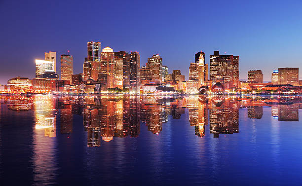 Beautiful Boston City Highlights Reflection stock photo