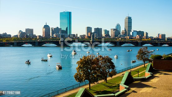 Beautiful Boston, Massachusetts, USA on a beautiful day in autumn as seen from Cambridge.