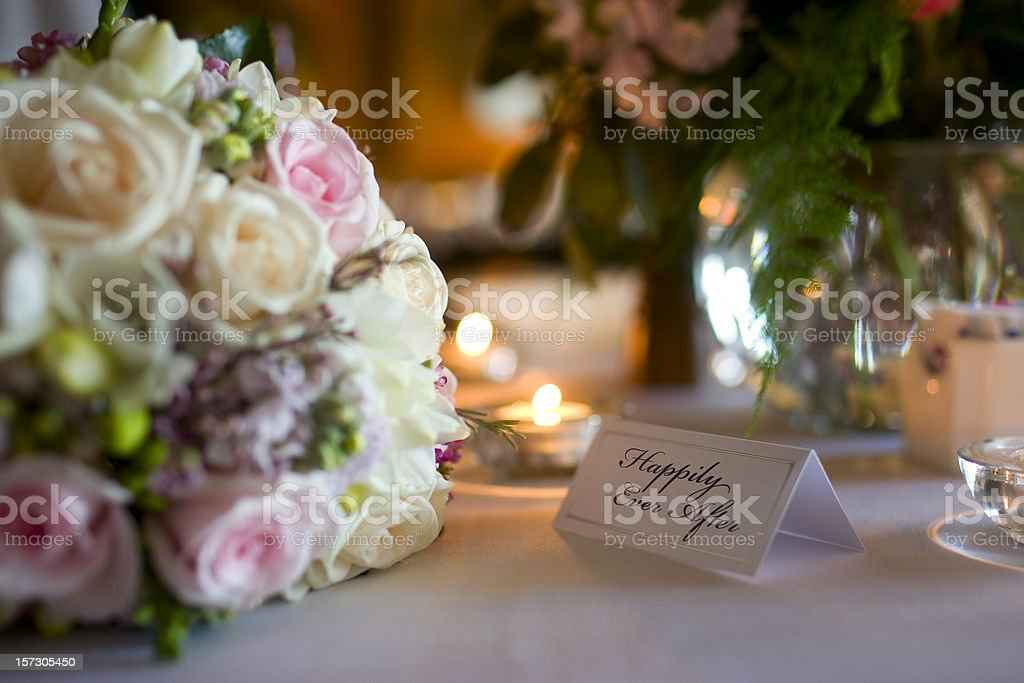 Beautiful Bouquet and Table Setting at Wedding Reception, Copy Space royalty-free stock photo