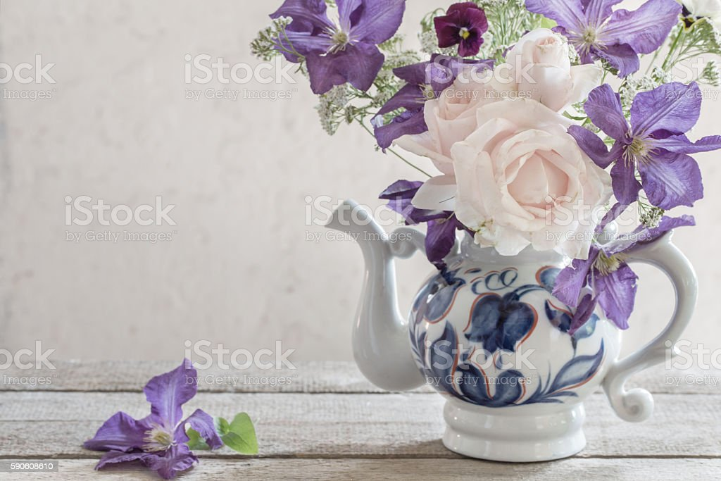 beautiful bouquet in a rustic style stock photo