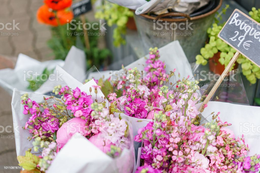 beautiful bouquet in flower shop. outdoor working in flower shop....