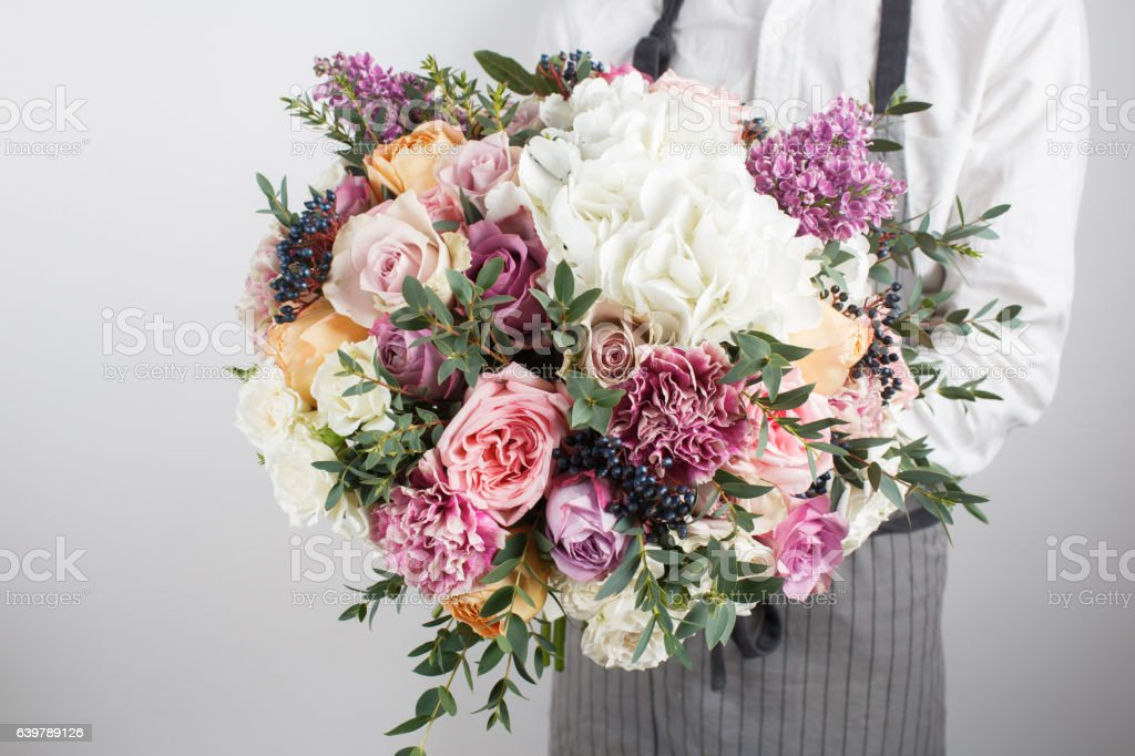 Beautiful Bouquet Made Of Different Flowers In Young Man Hand Stock ...