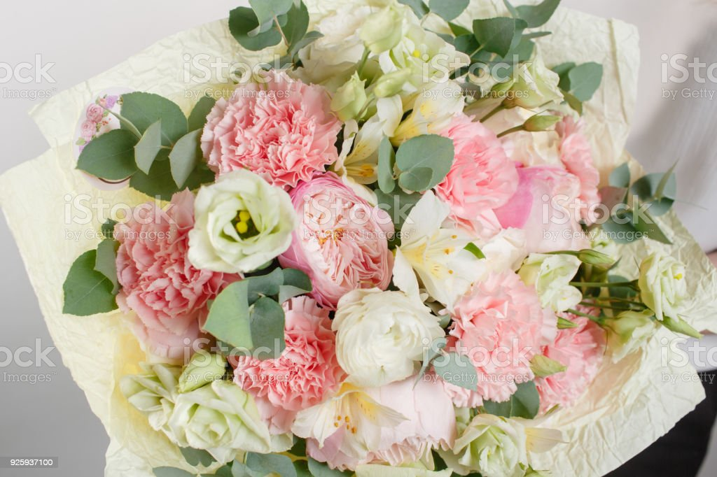 Beautiful Bouquet Made Of Different Flowers With In Woman Hand