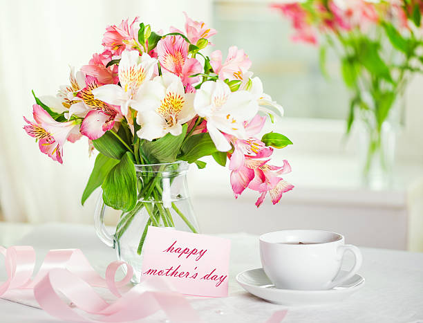 Beautiful bouquet of alstroemeria stock photo