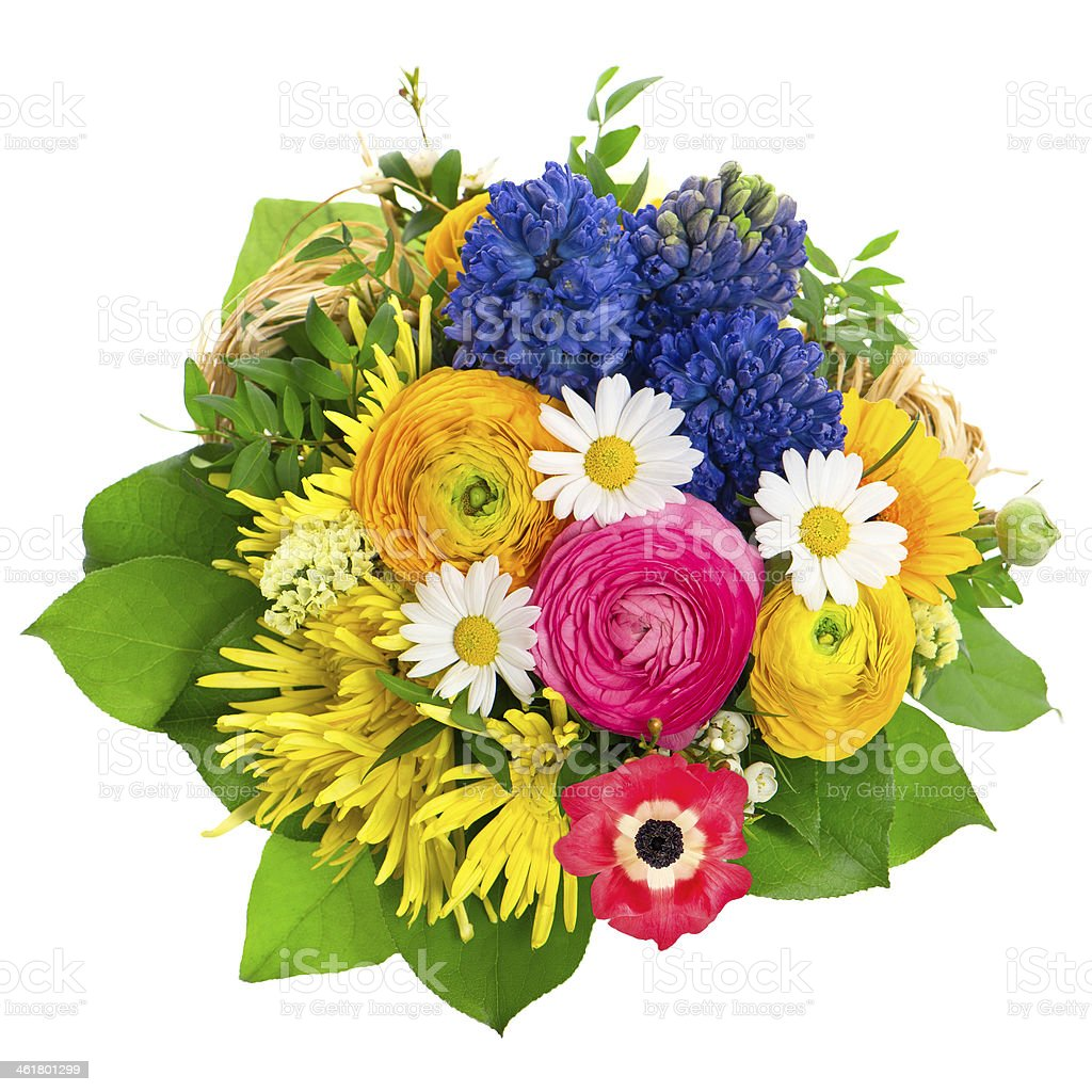 beautiful bouquet of colorful spring flowers royalty-free stock photo