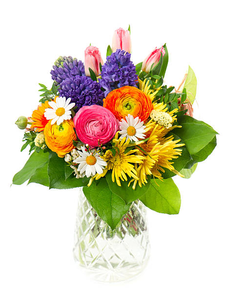 beautiful bouquet of colorful spring flowers - bloemstuk stockfoto's en -beelden