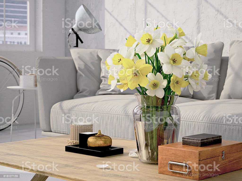 Beautiful bouquet of daffodil. 3d rendering stock photo