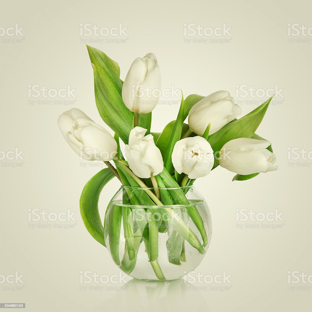 Beautiful Bouquet Of Flowers In A Vase White Tulips Stock Photo