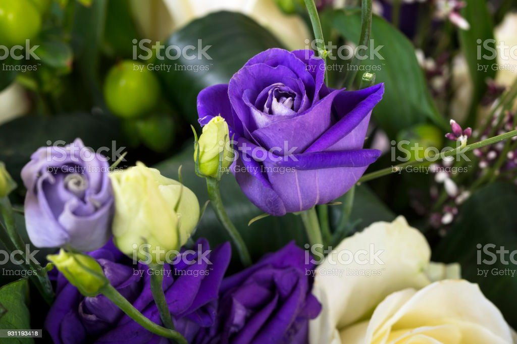Beautiful bouquet of mixed flowers stock photo