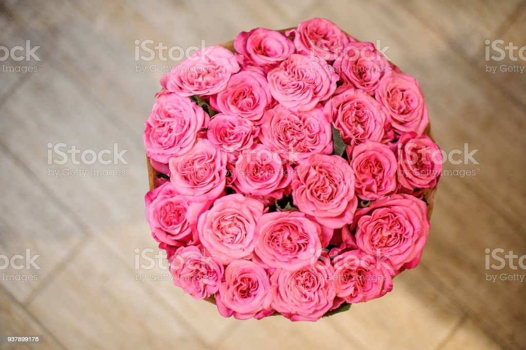 Beautiful Bouquet Of Pink Peony Roses Wrapped In Craft Paper Stock ...