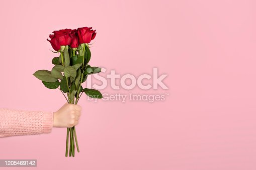 istock Beautiful bouquet of red roses in a woman hand on light pink background. 1205469142