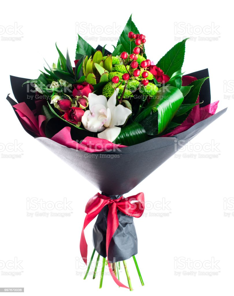 Beautiful Bouquet Of Red White And Green Flowers Wrapped In Dar