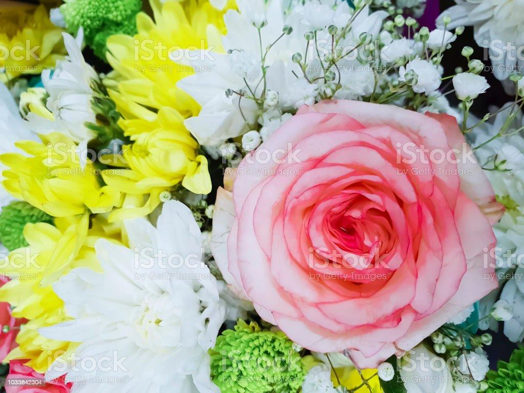 Beautiful Bouquet Of Rose Yellow Chrysanthemum Background Stock