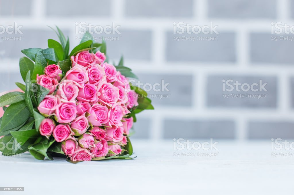 Beautiful Bouquet Of Roses For Greetings Concept Happy Birthday