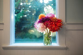 Beautiful bouquet of vibrant colorful dahlia flowers in a glass jar vase. Indoors on windowsill in farmhouse. Horizontal Floral background image.