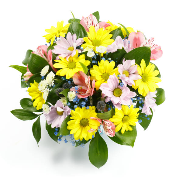 Beautiful bouquet of yellow, pink and blue flowers on a white background as a gift stock photo