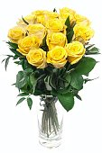 Beautiful Bouquet of yellow roses at white background isolated