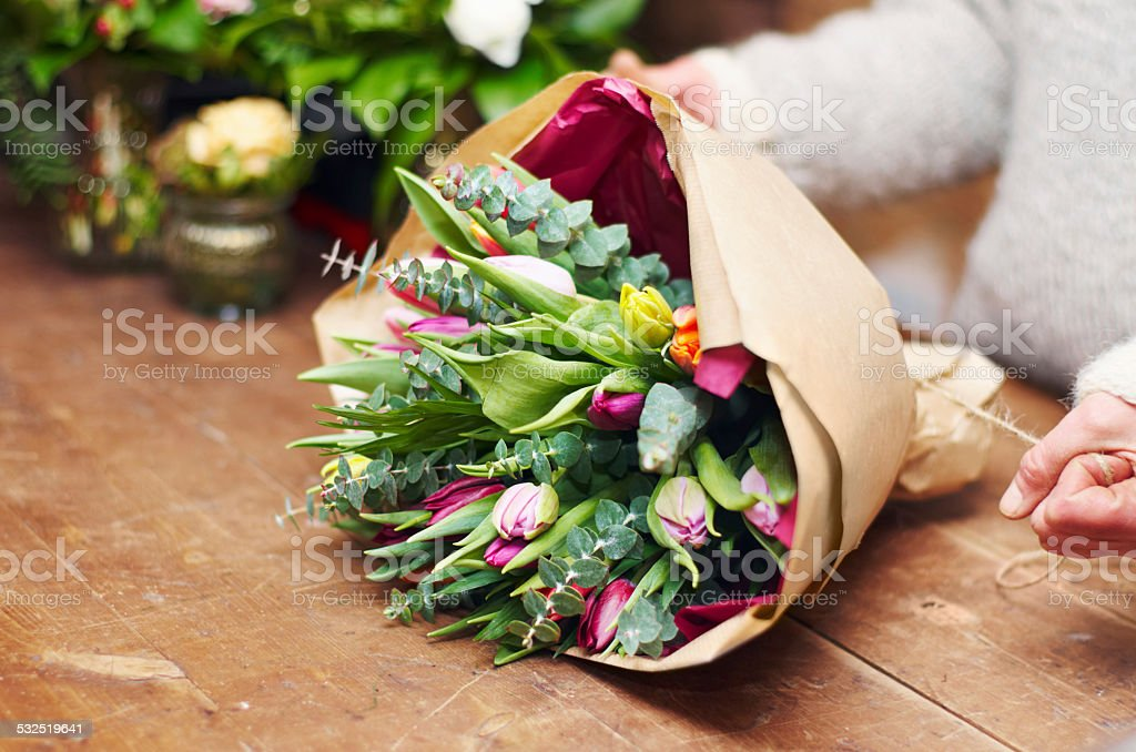 Beautiful bouquet ready for presentation stock photo