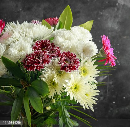 Beautiful Bouquet with asters, chrysanthemums and gerberas