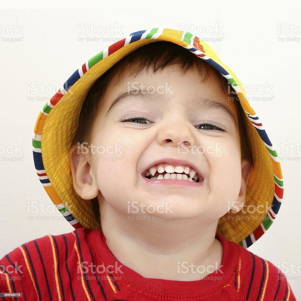 Beautiful Boy in Beach Hat royalty-free stock photo