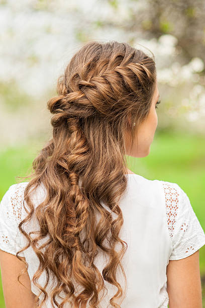 Beautiful  braid hairstyle stock photo