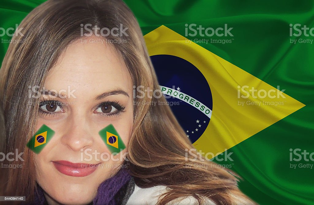 Beautiful Brazilian fan patriot stock photo