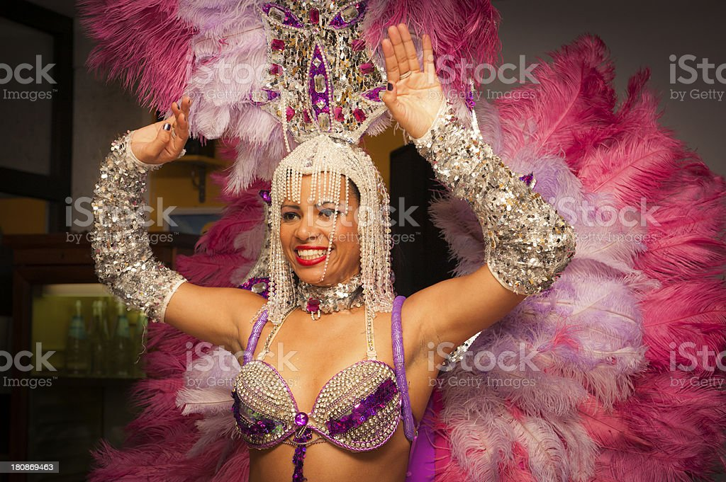 Beautiful Brazilian Girl Smiling and Dancing with Typical Costume stock photo