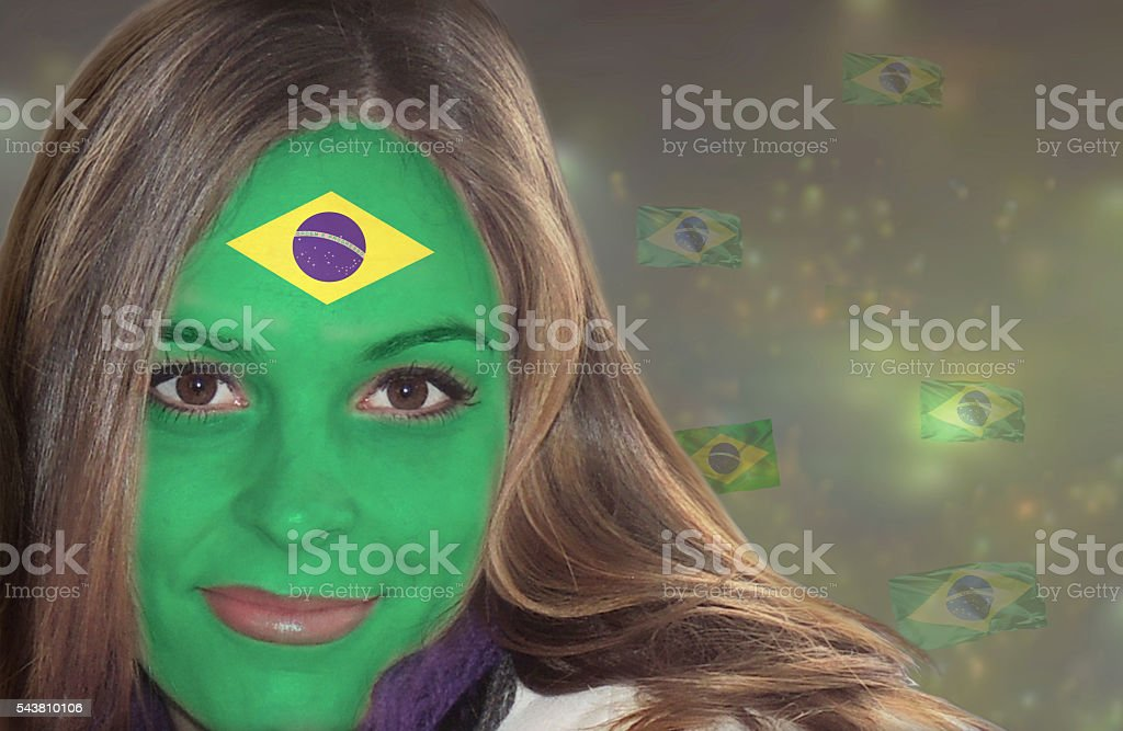 Beautiful Brazilian lady fan stock photo