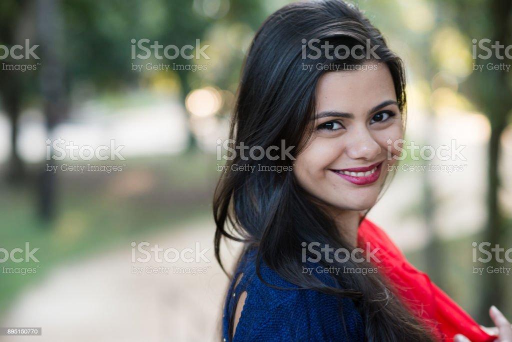 Beautiful brazilian young woman stock photo