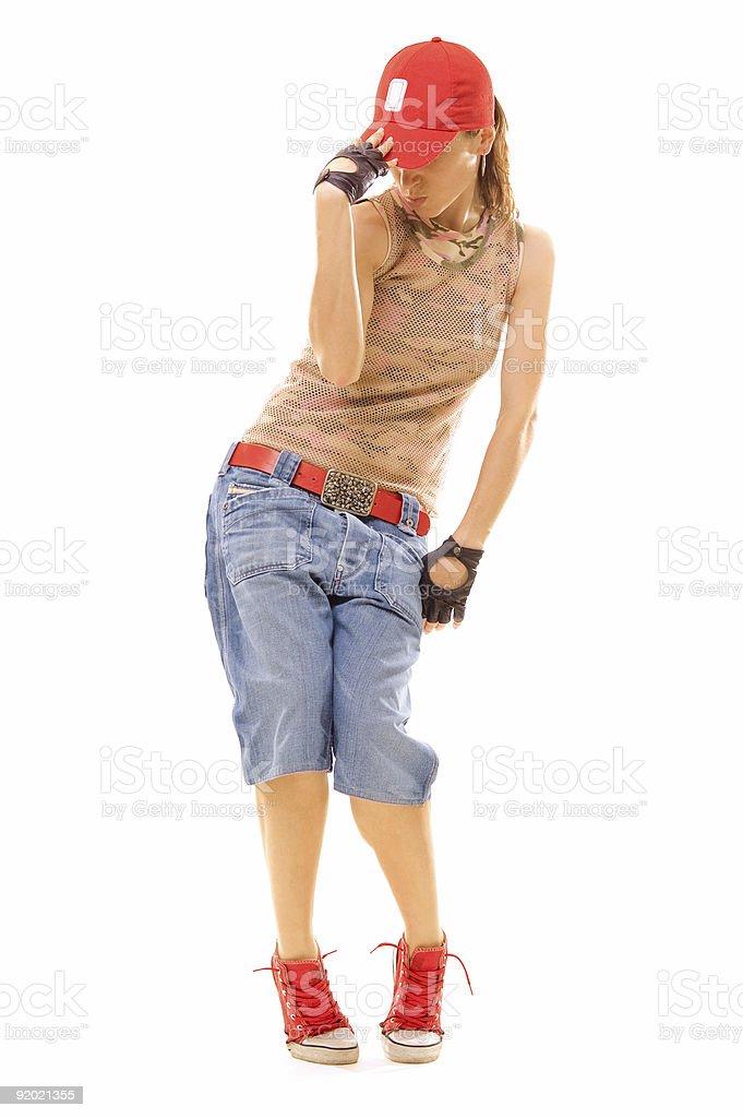 beautiful breakdancer posing royalty-free stock photo