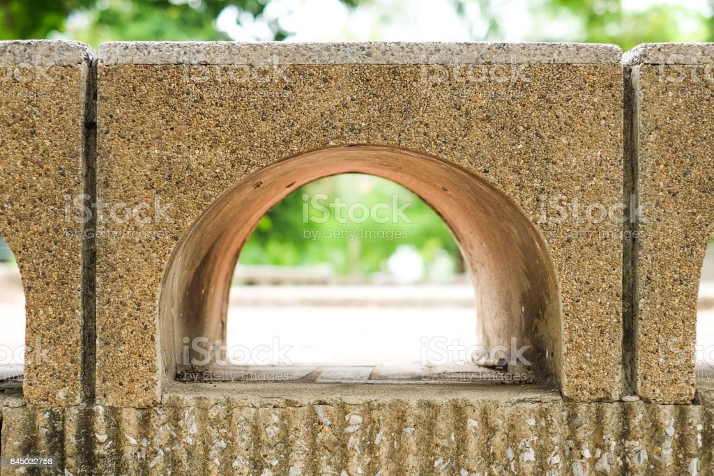 Beautiful brick gap with nature for construction or structure background. stock photo